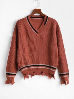 Autumn and Winter Ripped Striped Elastic Full Drop V-Collar Regular Regular Casual Daily Pullovers Striped Ripped Sharkbite Trim Drop Shoulder Sweater