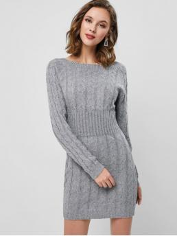 No Fall and Spring Elastic Solid Long Raglan Boat Mini Bodycon Casual and Day Fashion Raglan Sleeve Cable Knit Mini Sweater Dress