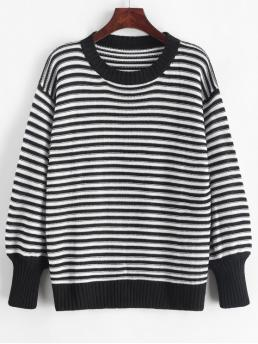 Autumn and Spring and Winter Striped Elastic Full Drop Crew Regular Regular Fashion Daily and Going Pullovers Drop Shoulder Textured Stripes Pullover Sweater