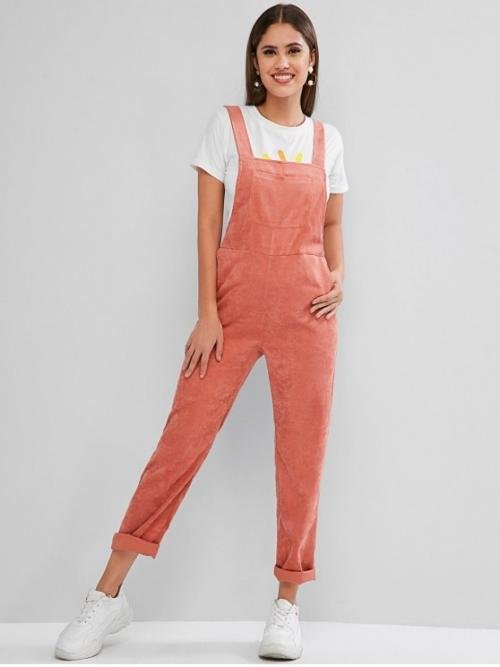 Fall and Spring No Pockets Solid Sleeveless Square Normal Regular Casual Daily Corduroy Pocket Plain Overalls