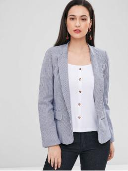 Fall Striped Single Full Lapel Regular Regular Casual Striped One Button Pocket Blazer