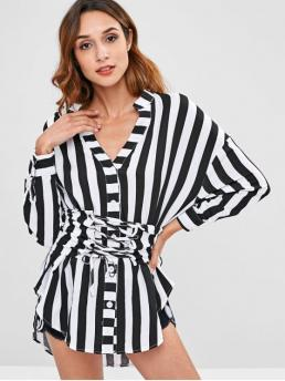 Autumn Stripe Full Long Nonelastic V-Collar Fashion Daily Striped Oversized Shirt with Corset Belt