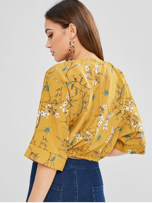 Summer Floral 1/2 Batwing Short Plunging Casual Daily Floral Pattern Batwing Sleeve Blouse