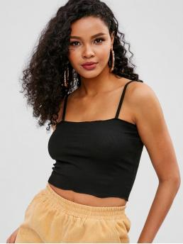 Summer Standard Solid Spaghetti Short Casual Plain Cropped Cami Top