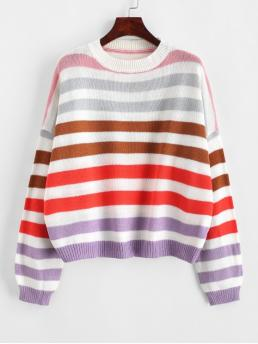 Autumn Striped Elastic Full Drop Crew Regular Loose Casual Daily Pullovers Contrast Striped Loose Crew Neck Sweater