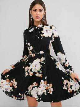 No Fall and Spring Nonelastic Floral Long Bowknot Mini A-Line Day Fashion Long Sleeve Floral Bow Tie Mini Dress