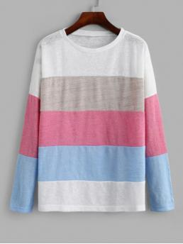 Autumn Striped Elastic Full Drop Round Regular Regular Casual Daily and Going Pullovers Color-blocking Drop Shoulder Contrast Knitwear