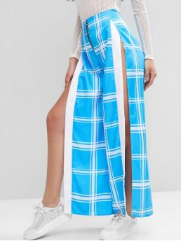 Fall and Spring No Zipper Wide Normal Plaid Slit Loose High Fashion Plaid High Waisted Slit Wide Leg Pants