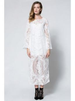 No Fall and Summer Floral Long Round Ankle-Length A-Line Beach and Vacation Vintage Flare Sleeve Sheer Lace Maxi Dress