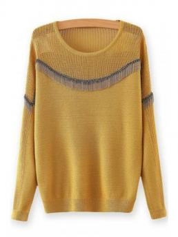 Fashion Pullovers Chain Embellished Round Neck Long Sleeves Sweater