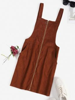 Women's Coffee Solid Sleeveless Cotton,polyester Corduroy O Ring Zip Pocket Overall Dress