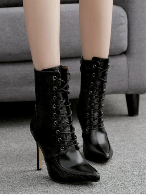 PU Lace-Up Print 15CM Stiletto Pointed Ankle Spring/Fall Fashion For Animal Embossed Stiletto Heel Pointed Toe Short Boots