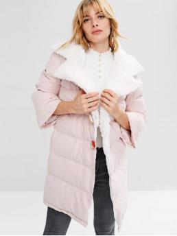 Solid Turn-down Full Long Wide-waisted Casual Snap Button Plain Quilted Coat
