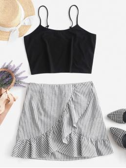 No Summer Flounce Striped Flat Zipper High Sleeveless Spaghetti Regular Fashion Casual and Daily and Going Crop Cami Top and Striped Skirt Set