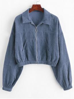 Autumn Pockets Solid Zipper Turn-down Drop Full Short Wide-waisted Fashion Jackets Daily and Going Corduroy Pocket Pull Ring Drop Shoulder Jacket