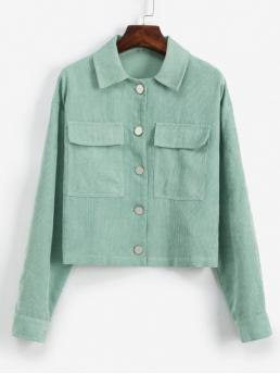 Autumn Pockets Solid Shirt Drop Full Regular Wide-waisted Casual Jackets Daily Pockets Button Up Solid Corduroy Jacket