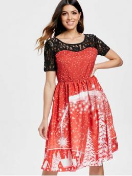 Fall and Spring No Others Short Round Knee-Length A-Line Holiday Cute Print Lace Panel Vintage Party Dress