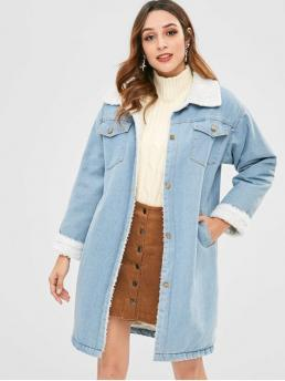 Winter No Pockets Solid Turn-down Full Long Wide-waisted Long Daily and Going Fashion Button Up Denim Sheepskin Coat