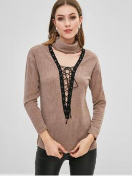 Autumn and Winter Lace Others Elastic Full Turtlecollar Regular Regular Fashion Daily Pullovers Lace-up Turtleneck Knit Sweater
