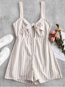 Fall and Spring and Summer No Striped Sleeveless Spaghetti Regular Fashion Daily Striped Bunny Tie Front Romper