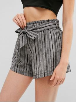 Summer Yes Striped Pleated Elastic High Regular Fashion Paperbag Waist Striped Belted Shorts