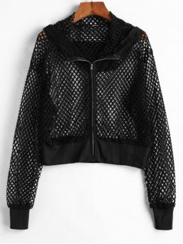 Autumn Solid Zipper Hooded Full Short Wide-waisted Fashion Jackets Daily Hooded Ribbed Trim Fishnet Jacket