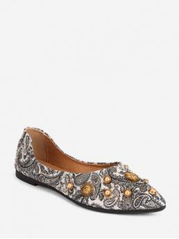 Fall and Spring Print Daily Fashion Synthetic Slip-On Pointed Closed For Slip-On Paisley Print Studded Slip On Flat Shoes