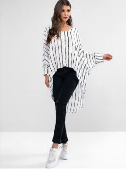 Autumn and Spring Striped Full Batwing Long V-Collar Casual Daily and Outdoor Striped Asymmetric High Low Poncho Batwing Blouse