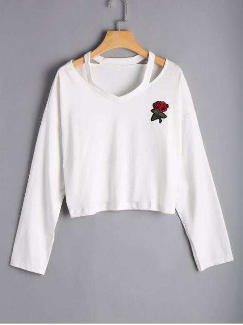 Autumn and Spring and Spring/Fall Floral Embroidery Full V-Collar Fashion Rose Embroidered Cold Shoulder Top