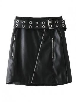 Yes Zippers Solid A-Line Mini Studded Zip Up Faux Leather Mini Skirt