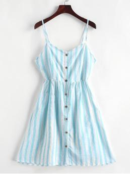 No Summer Striped Sleeveless Spaghetti Mini A-Line Vacation Casual Knotted Back Buttoned Striped Cami Dress