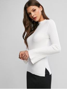 Autumn and Spring Solid Elastic Full Flare Mock Regular Regular Casual Daily Pullovers Lettuce Trim Flare Sleeve Vented Knitwear