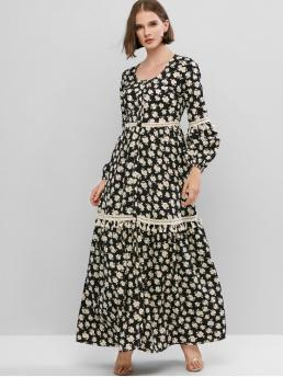 No Fall and Spring Floral Long Round Floor-Length A-Line Casual and Vacation Casual Lantern Sleeve Crotchet Trim Button Up Maxi Dress