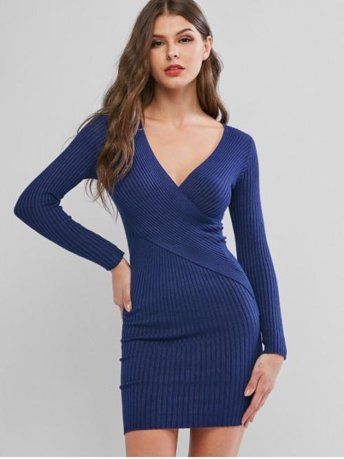No Fall and Winter Super-elastic Solid Criss-Cross Long V-Collar Mini Jumper Bodycon Day and Work Sexy Ribbed Cross Bodycon Sweater Dress