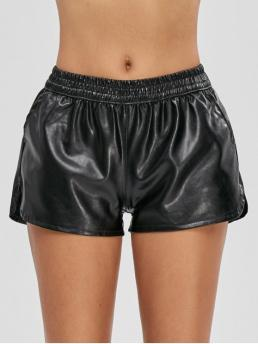 Autumn and Spring and Summer No Pockets Solid Flat Elastic Mid Regular Fashion Pockets PU Leather Shorts