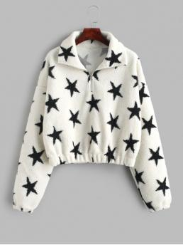 Autumn and Winter Zipper Star Full Short Drop Sweatshirt Star Graphic Half Zip Faux Fur Sweatshirt