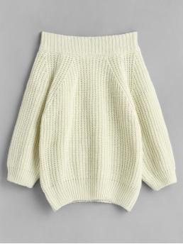 Autumn Solid Elastic Full Off Regular Loose Casual Daily Pullovers Off Shoulder Chunky Knit Solid Sweater