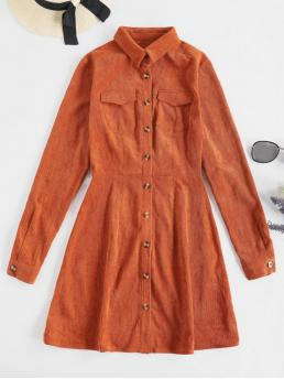 No Fall Solid Pockets Long Shirt Mini Shirt A-Line Casual Casual Button Up Pockets Corduroy Flare Dress