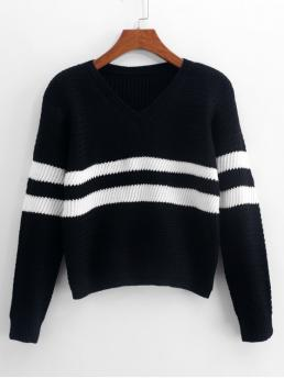 Autumn and Winter Stripe Elastic Full V-Collar Short Regular Casual Daily Pullovers Striped-detail V Neck Sweater