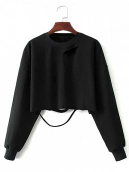Solid Crew Long Crop Cropped Ripped Sweatshirt