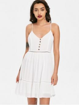 Summer No Solid Sleeveless Spaghetti Knee-Length Slip A-Line Beach Casual Ladder Trim Smock Slip Dress