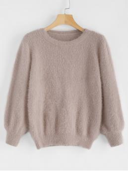 Autumn and Spring Solid Elastic Full Crew Regular Slim Casual Pullovers Cosy Fluffy Sweater