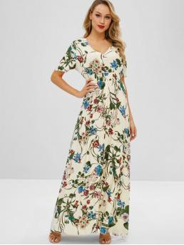 No Spring and Summer Floral Short Plunging Floor-Length A-Line Beach and Casual and Vacation Bohemian Maxi Flower Print Slit Dress