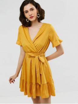 Yes Summer Nonelastic Solid Ruffles Short V-Collar Mini Surplice A-Line Day and Vacation Fashion Belted Ruffles Surplice Dress