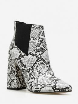 Trendy PU Zip Animal 11CM Chunky Pointed Ankle Spring/Fall Fashion For Snake Print High Heel Chelsea Ankle Boots