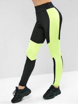 Fall and Spring Full Color Elastic High Sports Active Neon Color Block Workout Leggings