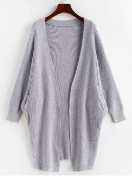 Autumn Solid Elastic Full Batwing Collarless Long Loose Casual Daily Cardigans Dolman Sleeves Solid Open Cardigan with Pockets