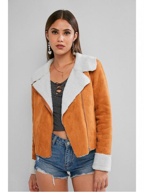 Autumn and Spring Others Turn-down Full Regular Slim Casual Leather Daily and Going Zip Up Cuffed Sleeve Faux Shearling Suede Jacket