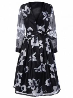 Fall and Spring Yes Floral Long V-Collar Mid-Calf A-Line Brief Floral Print Belted Swingy Dress