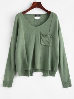Full Sleeve Pullovers Acrylic,cotton,polyester Solid V Neck Cutout High Low Sweater Clearance